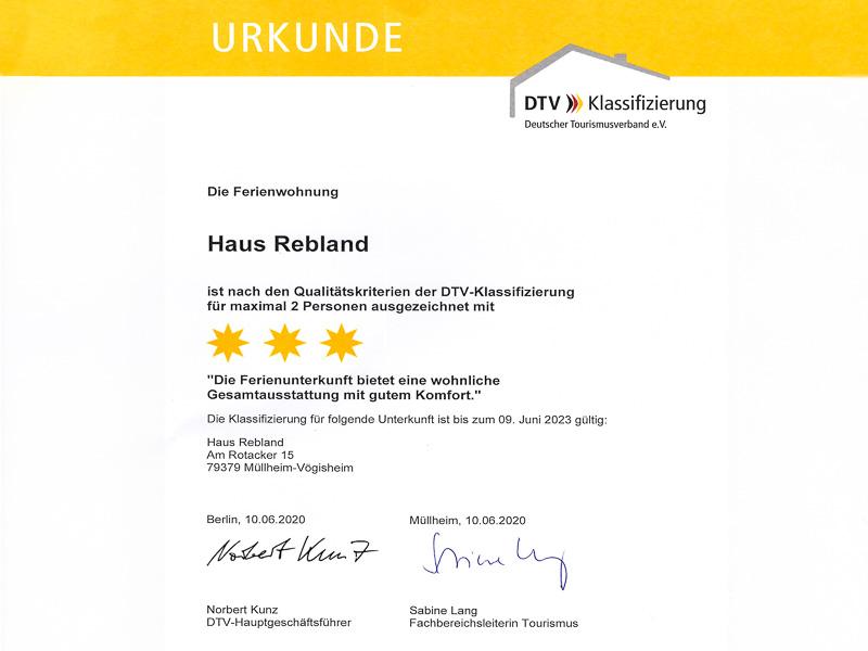 DTV Klassifizierung der Ferienwohnung REBLAND F***